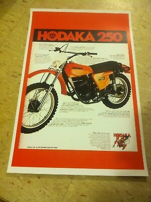 Vintage 1977 Hodaka 250 Motorcycle Advertisement Poster Home Decor Gift