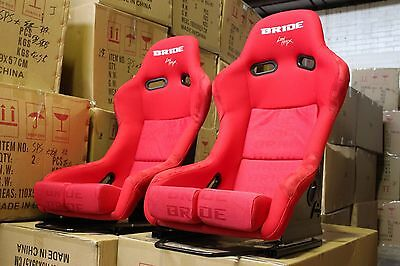 2x Bride lowmax VIOS II seat. Fixed back  Fiberglass Red, RED stitching Large