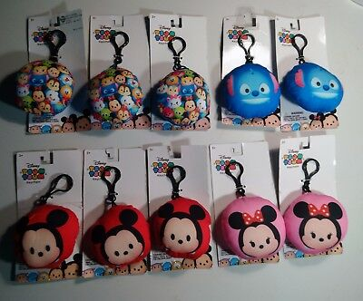 Disney Tsum Tsum backpack clip plush charm keychain Lot Bundle, 10 items, New