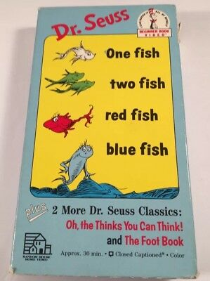 Classic Dr. Seuss Beginner Book One Fish Two Fish Red Fish Blue Fish VHS Tape