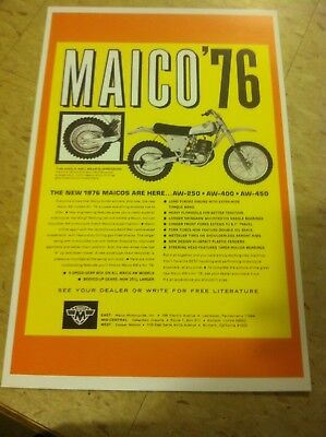 Vintage Maico GP Moto Cross Motorcycle Advertisement Poster Home Decor Gift