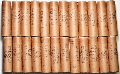 1960-P Lincoln Cent Rolls 24 - OBW Uncirculated Federal Reserve Bank Of NY Rolls