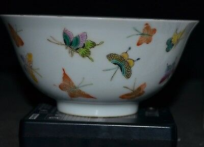 Chinese famille rose butterfly bowl Qianlong mark