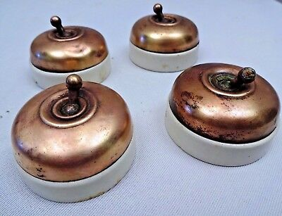 Vintage Electric Switches Ceramic And Brass Crabtree British Make Collectibles