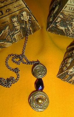 Vtg 1920's Antique Brass Art Deco Pendant,deep Purple Crystal,egypt.style,paris