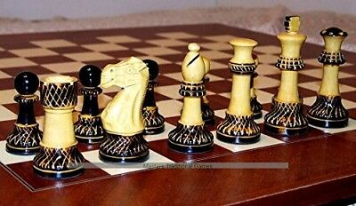 Jester 10 x 10 Chess set - Burnt wood in black Satinwood Box. Shipping is Free