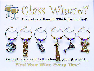 Wine Glass Finder Markers $3 per pack of 6! Champagne Chocolate Mobile Phone etc