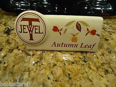 Hall China Jewel Tea Autumn Leaf Pottery Shelf Sign ~ Barrington History