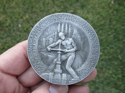 Scarce Humble Oil & Gas Baytown Detailed Pewter Medallion Paperweight Ww2 Planes