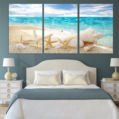 Hd Print Ocean Beach & Starfish Modern Painting Wall Art Home Decor 3P