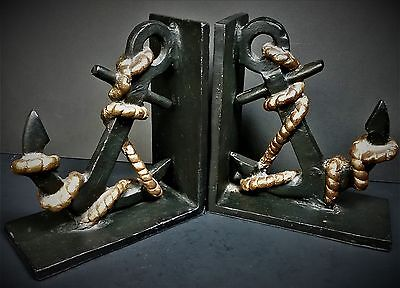 Ships Anchor Welded Steel Iron Bookends Vintage Nautical Library Decor Pr Heavy