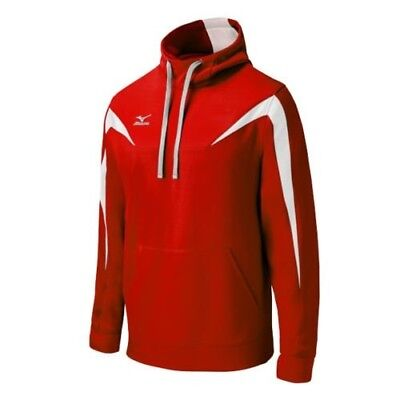 (Medium, Red/White) - Mizuno Elite Thermal Hoodie. Delivery is Free