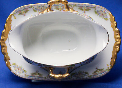 Jean Pouyat Limoges France Gold Trim Pink/Blue Chevrons Gravy Boat and Tray