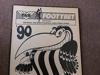 Afl Collingwood Magpies Collectors Weg Poster. Mounted On Wood Ready To Hang