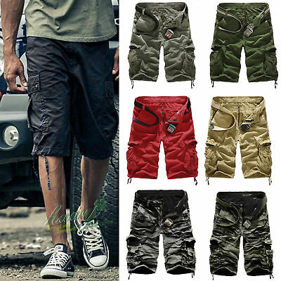 Mens Casual Cargo Pants Shorts Trousers Cotton Military Camo Army Combat