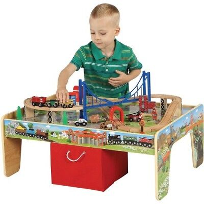 Fine Kids Wooden Train 50 Piece Set W 2In1 Activity Table Red Interior Design Ideas Apansoteloinfo