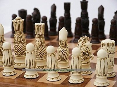 Victorian Ornamental Chess Set (cream and red, no board). Berkely Chess