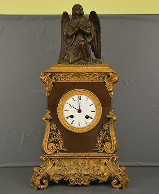 Old Antique French Clock Bronze 19 Th Working