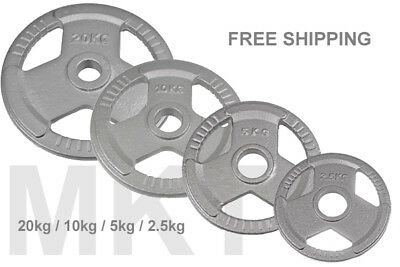 25mm Cast Iron Tri-Grip Weight Plates Free Weight Discs EZ  Barbell Gym 1""