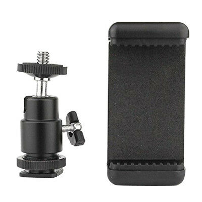 Cell Phone Clip Holder + Hot Shoe Screw Adapter Tripod Mount for DSLR Camera