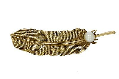 Solid Gold Detailed Feather Vintage Pin Brooch Set With A Akoya Cultured Pearl