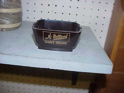 NOS Holland Dairy Foods Brown Bakelite Saf-T-Dish Ashtray MINT MINT Condition L@