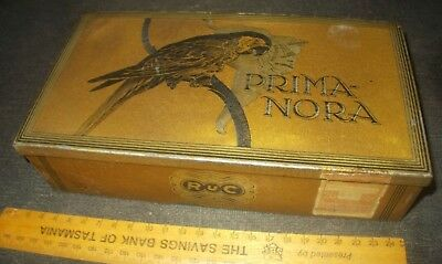 old tobacco / Cigar tin - PRIMA NORA BRASiL,German import 1930s Nazi Gov't stamp