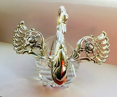 Vintage solid silver and glass salt swan with articulated wings, London 1972