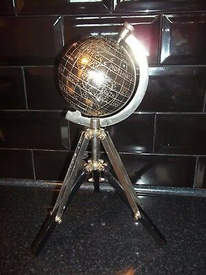 Unusual Vintage Chrome World Globe Stands On Tripod