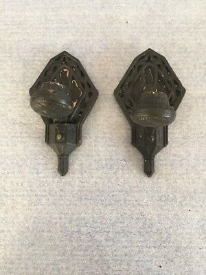 Old Vintage Antique Cast Iron Wall Sconces Lights Gothic Lamp Deco lot of 2