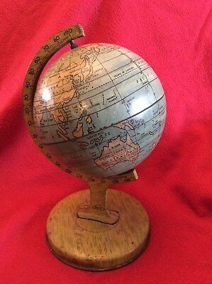 Rare Antique Vintage J Chein Tin Metal Lithograph Rotating World Globe 8""