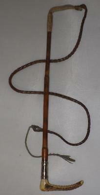 Vintage Ladies Bamboo Hunt Whip With Leather Lash -61cm