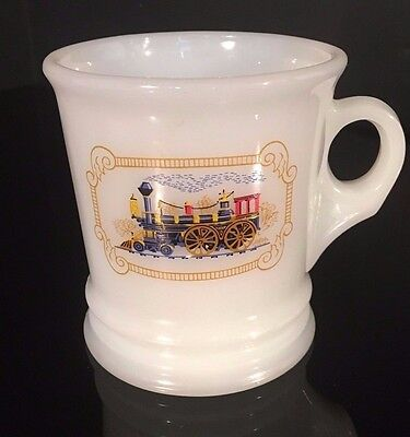 Vintage Milk Glass Avon Shaving Mug TRAIN Locomotive Railroad Steam Engine