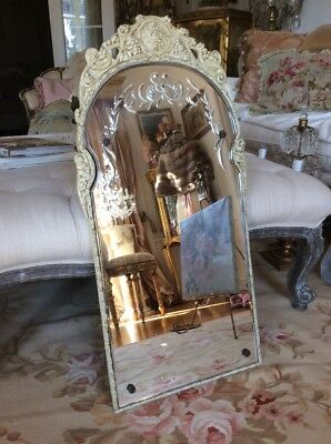 SHABBY Antique VTG OLD Etched Mirror WOOD GESSO FRAME VENETIAN STYLE