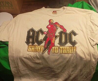 Iron Man 2 with AC/DC SHOOT TO THRILL T-Shirt XL preowned