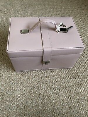 M&S Mark Spencer's Jewellery Box Pastel Pink Genuine Leather Plus Travel Case