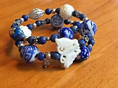 Sterling Silver Vintage Chinese blue art glass and carvings bracelet