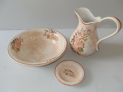 Set TOILET bowl pitcher saucer ceramics MADE IN FLORENCE DECORATION ROSE ROSES