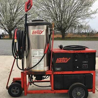 Used Hotsy 1410SS Hot 1PH / Diesel 4GPM @ 3000PSI Pressure Washer & Hose Reel