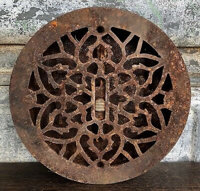 Vintage Cast Iron Floor Register Heat Grate Vent W/ Louvers - Ornate Round 8""