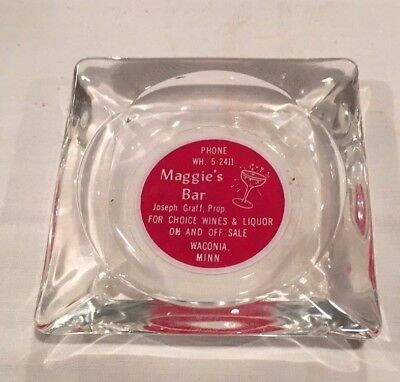 VINTAGE MAGGIE'S BAR WACONIA MINNESOTA ASHTRAY 1950's