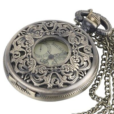 81stgeneration Women's Brass Vintage Style Mechanical Pocket Watch Chain Pend...