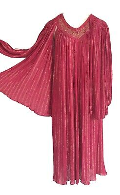 Vintage 70s Draped Cotton Gauze Dress Pink + Gold Metallic Stripe + Crochet BOHO