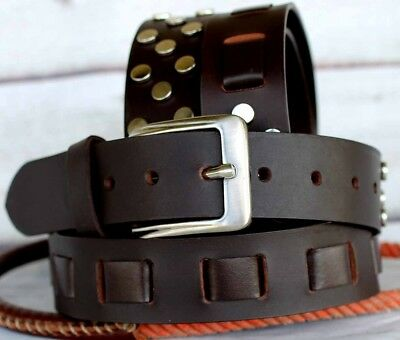 XL Unisex Full Grain Cowhide 100% Leather Casual Dress Belt Brown 2611RS01