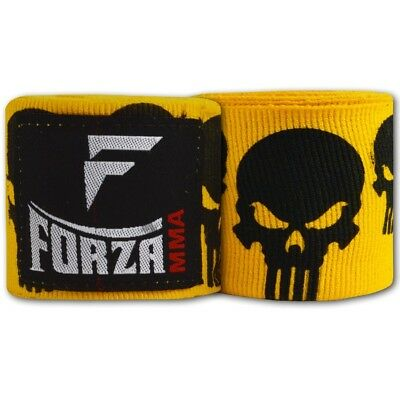 (Skulls Yellow) - Forza 460cm Mexican Style Boxing Handwraps. Free Delivery