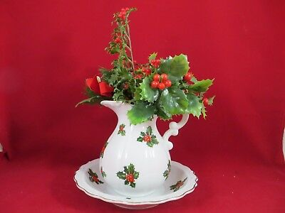 Lefton Christmas China Pitcher Bowl Set with Holly & Berry Plastic Flowers 7941