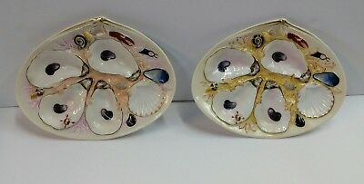 Set Of 2 Antique Union Porcelain Works (Upw) Oyster Plates 1881 Greenpoint, Ny