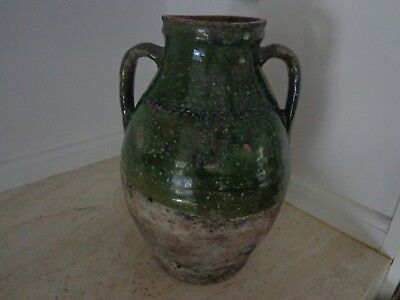 Antique 19Th Century French Terra Confit Pot Rare Green Glaze And Incising
