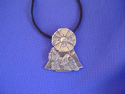 Shih tzu on Rosette Necklace Pewter Dog Jewelry by Cindy A. Conter  44E