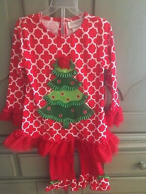 339efd680 NWT EMILY ROSE Christmas Tree Dress & Leggings Outfit 2T 4 4T Holiday Red  Ruffle
